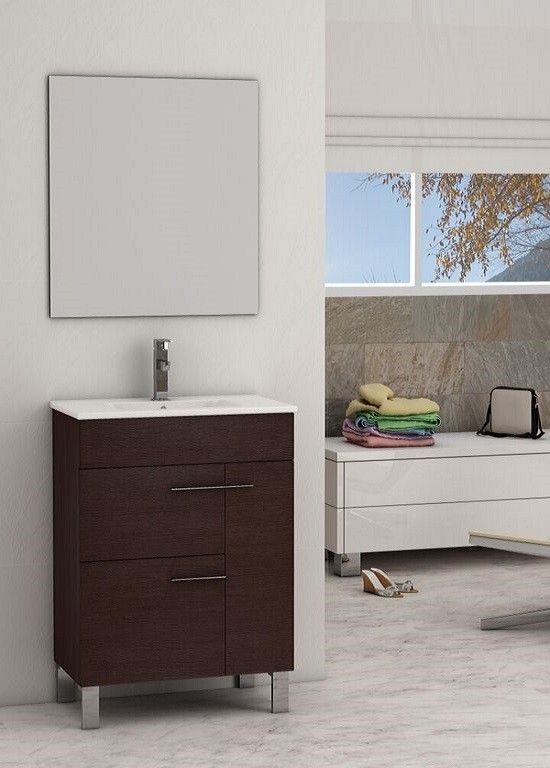 Eviva Cup® 24″ Wenge (Dark Brown) Modern Bathroom Vanity with White Integrated Porcelain Sink