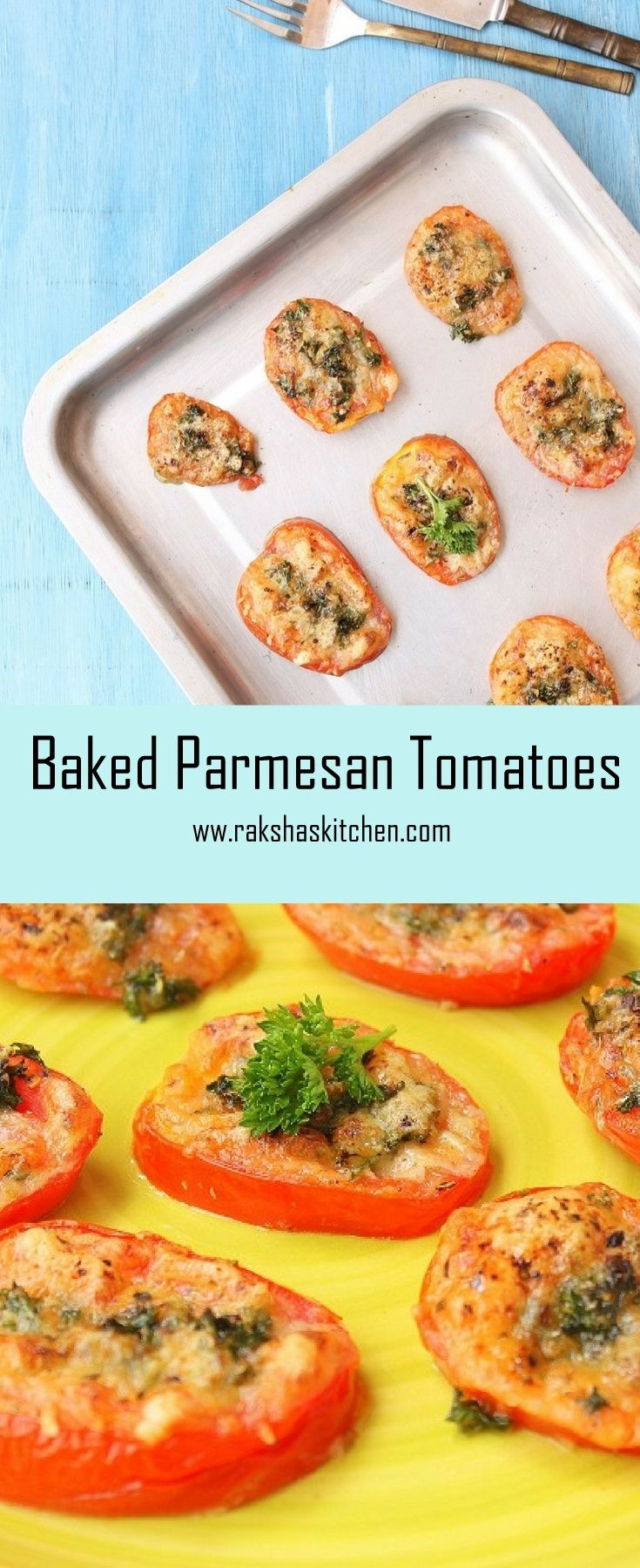 Baked Parmesan Tomatoes Serve them as delicious starters. Full of nutrition. #recipes #tomatorecipe #bakestomatoes #parmesan