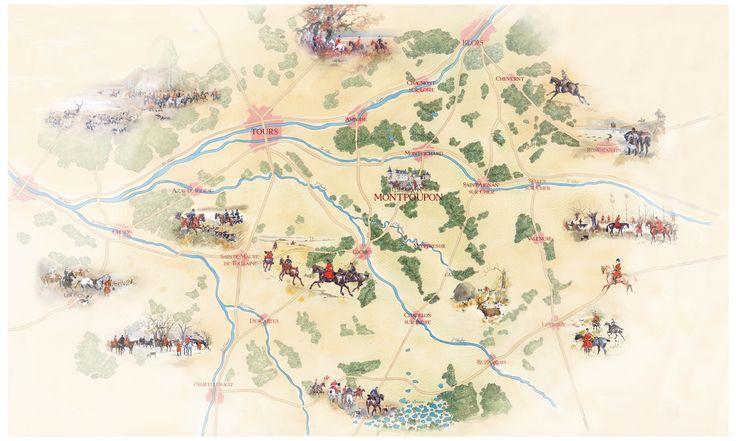 Carte du territoire de chasse du château de Montpoupon au 19ème siècle.