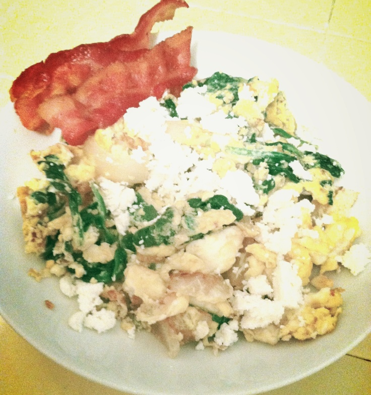 Caramelized onions, sautéed garlic and spinach egg scramble topped ...