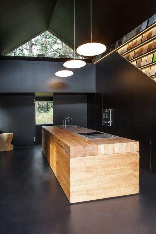 dark walls + wooden island