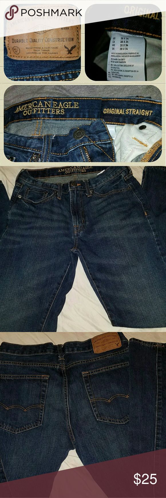 Mens 30?34 American Eagle Outfitters jeans Look and feel like new jeans in perfect condition they are 30x34 original straight blue jeans from American Eagle Outfitters great jeans American Eagle Outfitters Jeans Straight