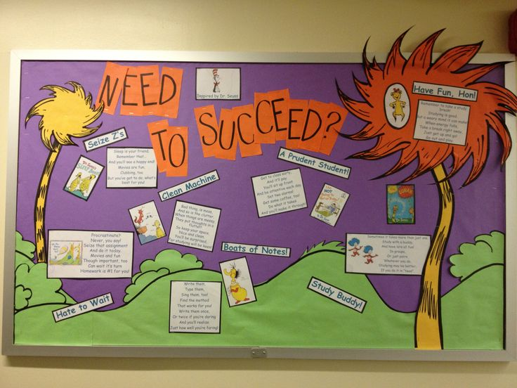 college homecoming bulletin board ideas | Dr. Seuss's Tips for Academic Success, info taken from reslife.net