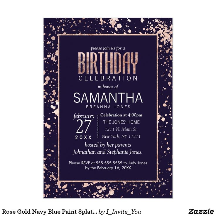 invitation message for wedding in hindi%0A     Paint Splatters Birthday Party Card Elegant  chic  and modern faux  print rose gold outline and paint splatters on navy blue  Birthday party  invitations