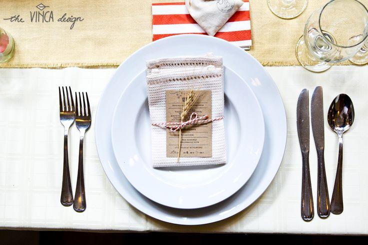 Vinca Design, rustic wedding, wedding stationery, menu, fabric napkin // rusztikus esküvő, menükártya, textilszalvéta