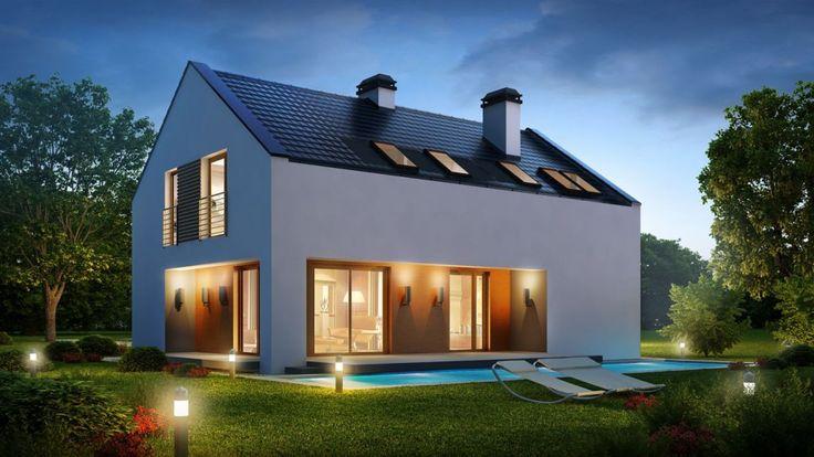 Domy bez okapu mają z reguły prostą bryłę, ale dzięki możliwości zastosowania dużych przeszkleń oraz wewnętrznych tarasów efekt końcowy może być naprawdę ciekawy. Projekt Z222, pracownia Z500.
