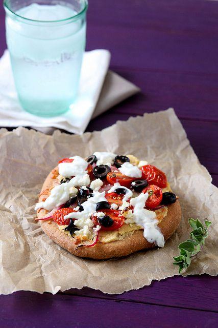 Greek Pita Pizzas | Annie's Eats. I'd cut a small slit and stuff the ...