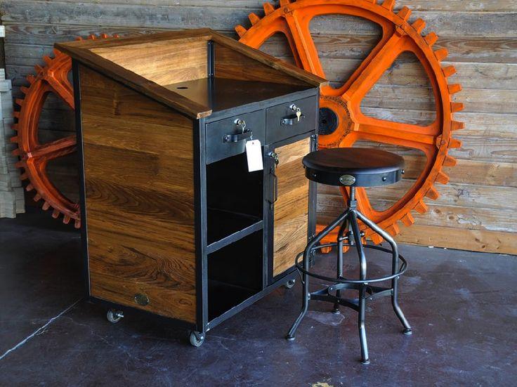 vintage industrial furniture design teak hostess stand