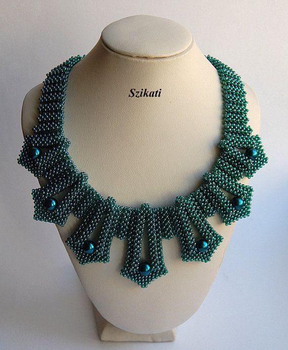 Blaugrün Pearl/Seed Perlen Collier Anweisung Beadwork von Szikati