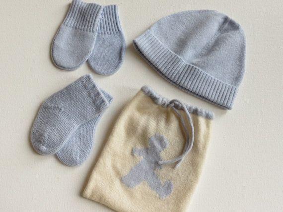 Cashmere bambino beany cappello, calze, guanti set - nuovi nati a 3 mesi