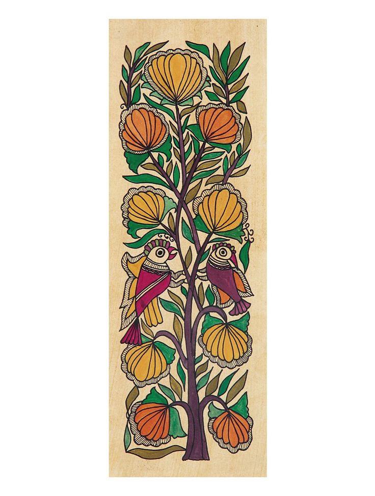 Tree of Life Madhubani Artwork with Parrots