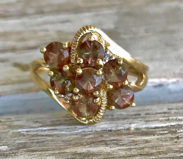 Vintage 10K Gold Andalusite and Diamond Cluster Cocktail Dinner Ring Size 7.25 #Cocktail