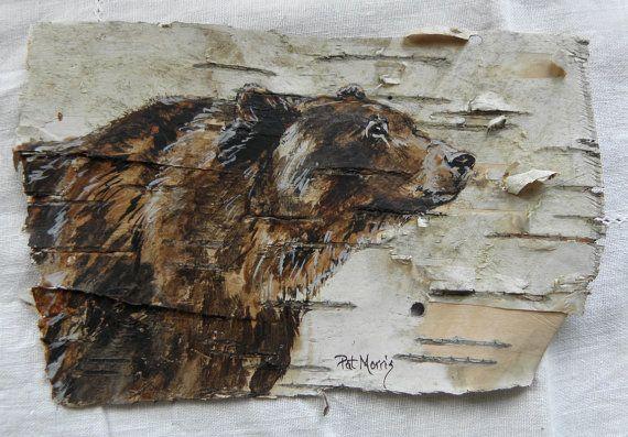 Hand Painted Bear on Birch Bark, Framed. $40.00, via Etsy.