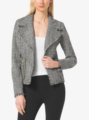 Frayed edges lend casual character to this tweed jacket. The cropped silhouette showcases notched lapels and zipped pockets. Let this have-forever style complement simple tees and slim-fit trousers.