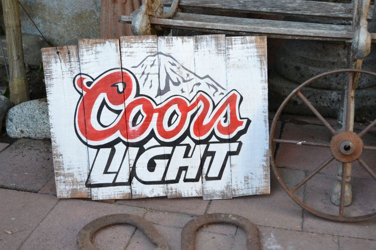 COORS Light * Reclaimed Wood Beer Sign -HAND MADE- 16x20 - Golden Colorado - Man Cave, Bar, Game Room *Ready to Ship* by VinyloUSA on Etsy