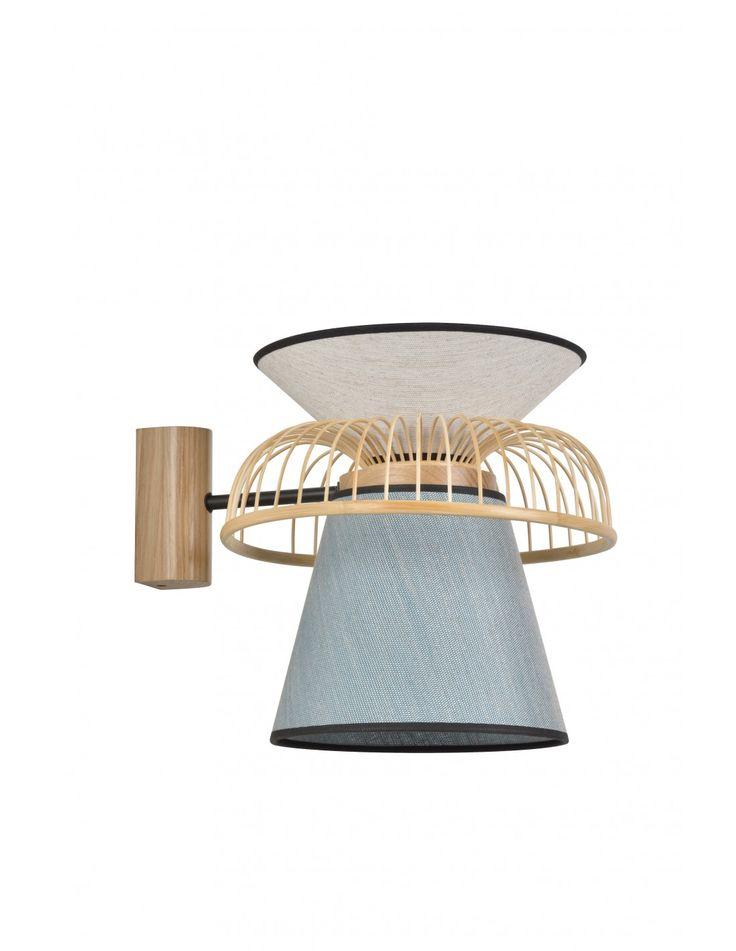 Applique Mekko GM Bleu ciel / blanc en lin et couronne en bambou par Market Set