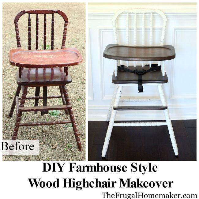 DIY Farmhouse Style Wood High Chair Makeover