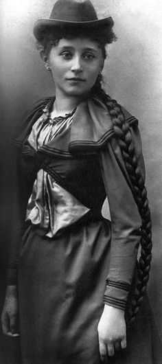 Feminist writer Collette as young woman with the long hair she had to leave home to cut, her mother was so proud of it