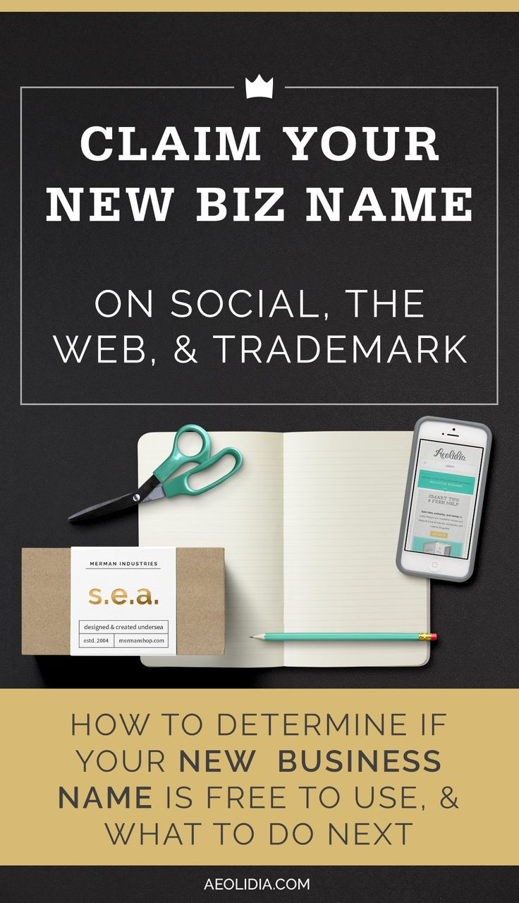 How to trademark a business name, when to hire an attorney, and how to claim your name by buying a domain name and claiming social media handles.