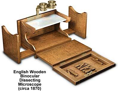 Molecular Expressions Microscopy Primer: Museum of Microscopy - Binocular Wooden Dissecting Microscope
