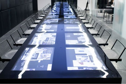 Screens built into the conference table. Posted by NYC Office Suites, 1-800-346-3968, sales@nycofficesuites.com, www.nycofficesuites.com #office #design #technology