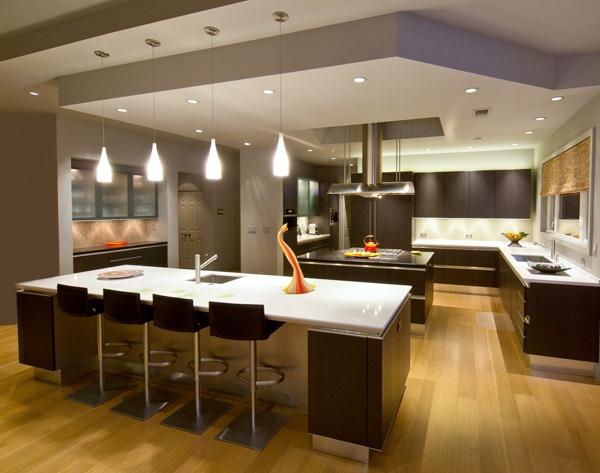 Dual Island U Shaped Designer Kitchen Snaidero IDEA Featuring Dark Oak Wood  Cabinetry And Light Finish Countertop. Elegant Snaidero IDEA Designed By  Michael ...