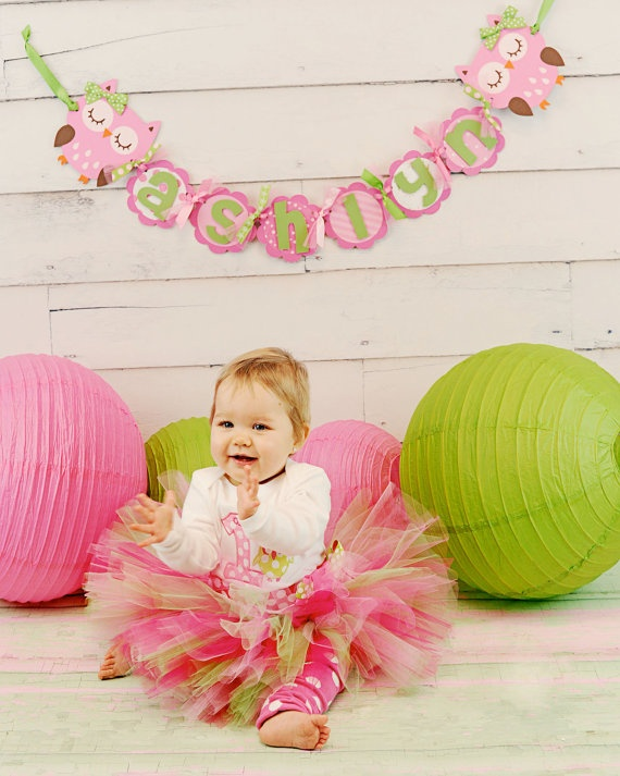 Birthday Party Name Banner Pink and green