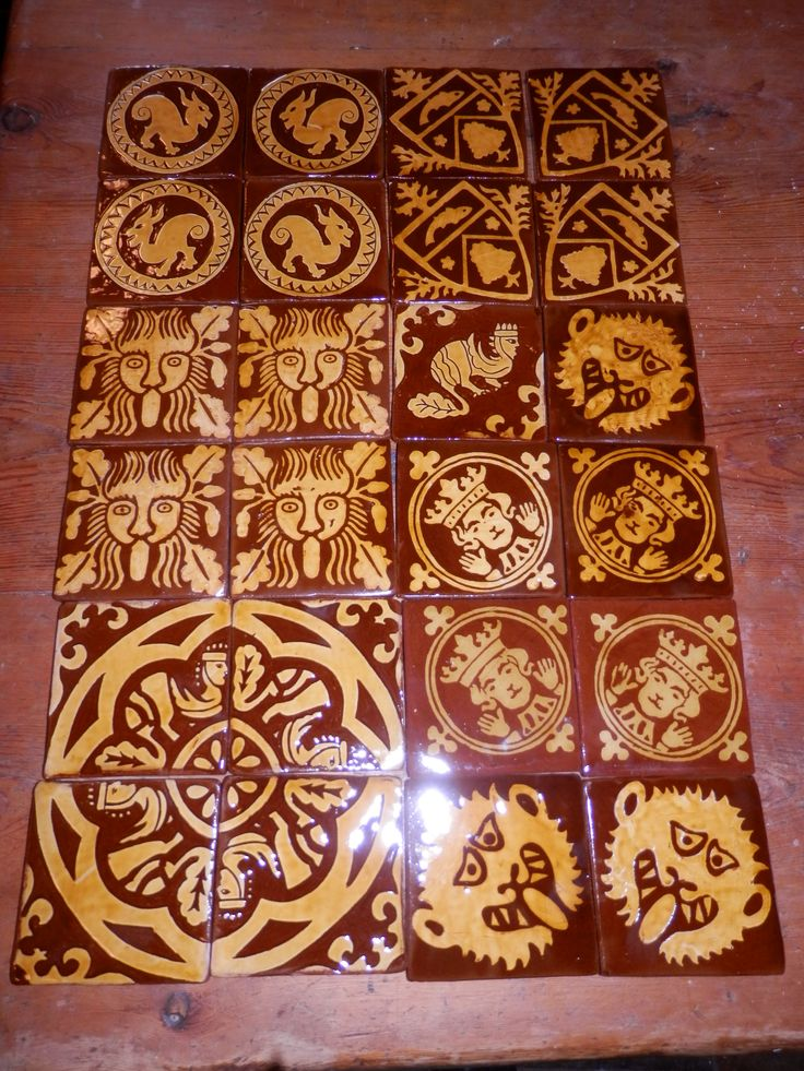 Replica inlaid and sgraffito medieval tiles by Tanglebank Tiles
