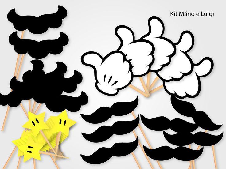 """It's me Mário!! <br> <br>Kit de photobooth para tirar fotos e animar festas temáticas infantis e de adultos. <br> <br>Contém 55 itens: <br>- 10 bigodes recortados em papel 180g preto e colado em palito de madeira no formatos de bigode do Mário. <br>- 10 bigodes recortados em papel 180g preto e colado em palito de madeira no formatos de bigode do Luigi. <br>- 5 """"Curti"""" em formato da mão dos irmãos encanadores. <br>- 30 tags em formato de estrela para topo de docinho ou de cupcake. <br> <br…"""