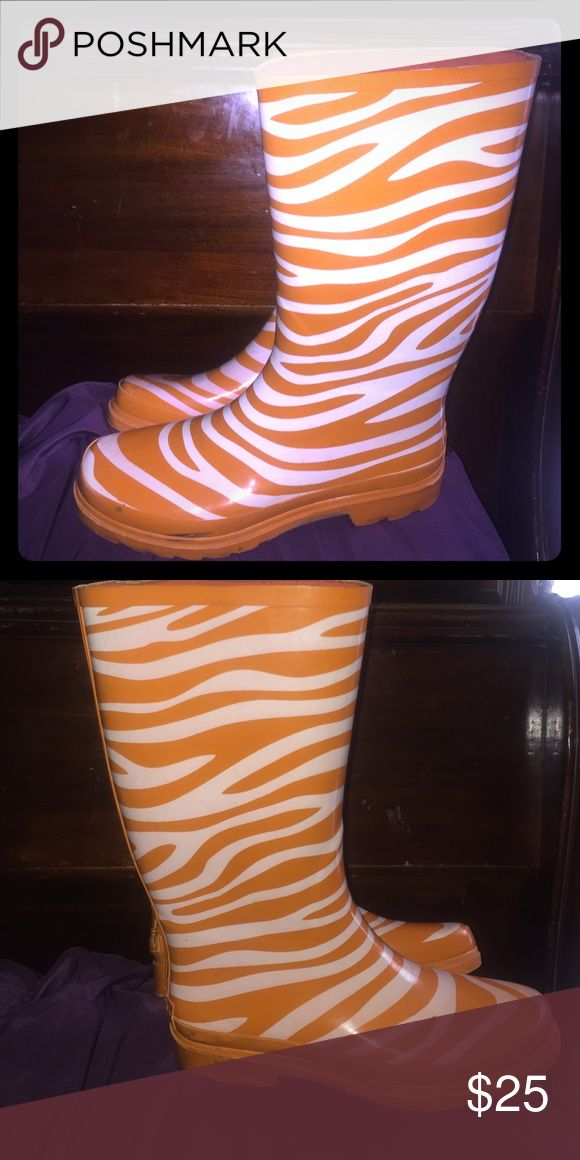 Rain boots ! Orange and white rain boots . Zebra striped . Very cute Shoes Winter & Rain Boots
