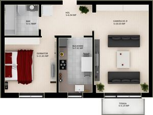 Schita apartamentelor cu doua camere din Cartierul Casa Nobel