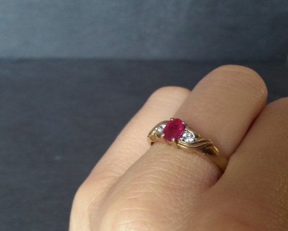 Vintage Gold Ruby Engagement Ring Ruby & Diamond by ArahJames