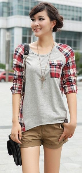 Korean Style Loose Lattice Clothing Long Sleeve Women Red Cotton T-Shirt One Size @FZ9642r