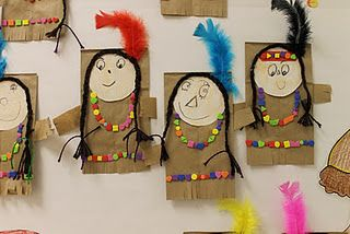 Native American Craft: Kids make their own using brown paper bags, scissors, feathers, shapes, yarn, and faces!