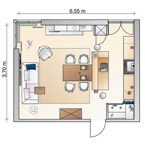 Легкость и простор на 24 кв.м: удачное объединение гостиной, столовой и кухни
