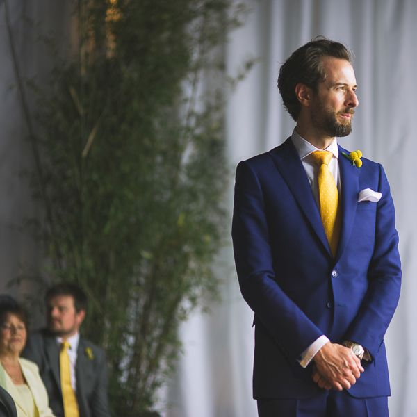 London Warehouse Yellow Grey Wedding Paul Smith Blue Suit Groom http://kristianlevenphotography.co.uk/