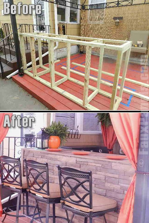 Outdoor living spaces are given a classy look with artificial stone panels.