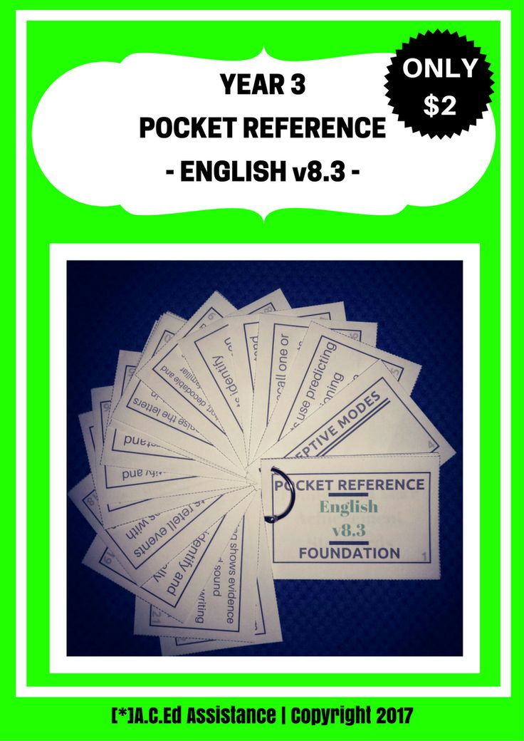 ENGLISH:This NEW 'Pocket Reference' is an essential tool in any Year 3 classroom! It's such a quick and easy-to-use reference that identifies the Receptive and Productive Modes and Year 3 Achievement Standards....