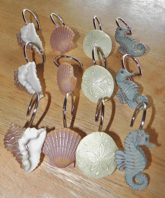 Nautical Shower Curtain Hooks 12 Seahorse Sand Dollar Conch