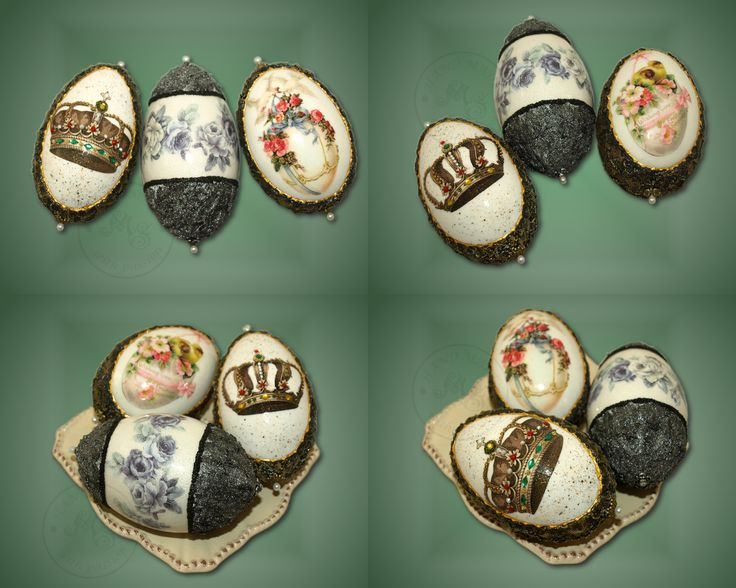 The goose shells decorated using classic decoupage and ornamentation.