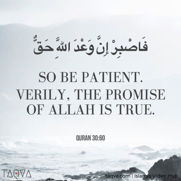 """So be patient. Verily, the promise of #Allah is true."" #Quran 30:60 #Islam #sabr #tawakkul #IslamicReminder #QuranicQuote #QuranicVerse #IslamicQuote #Islamic"