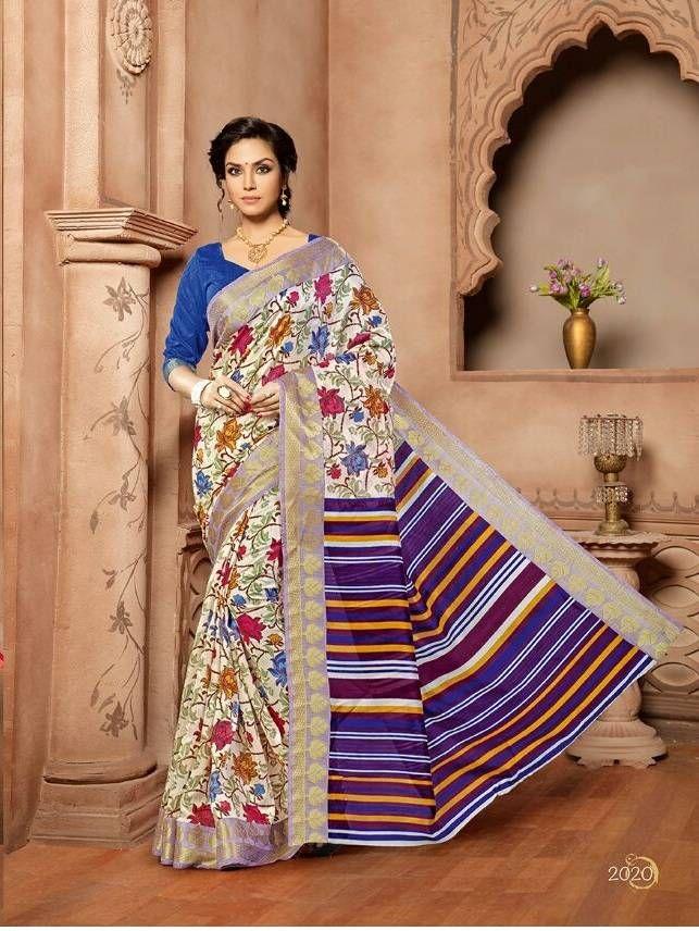 Excited multi colour Pure Cotton Silk Saree