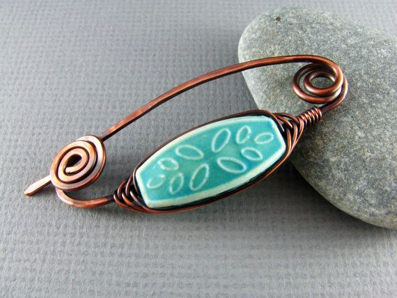 Shawl Pin Wire Wrapped Copper Scarf or Sweater by PolymerPlayin