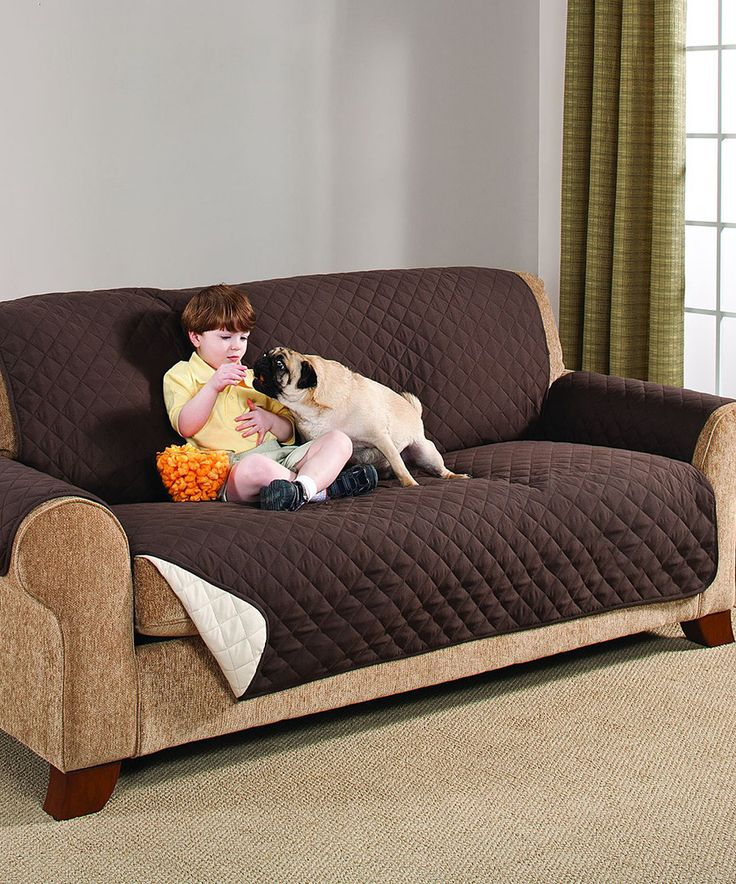 Look at this Chocolate & Tan Brushed Microfiber Reversible Sofa Cover on #zulily today!