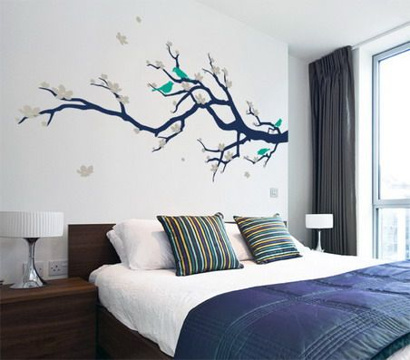 beautiful japanese tree and birds wall stickers decals in small master bedroom decorating design ideas - Wall Sticker Design Ideas
