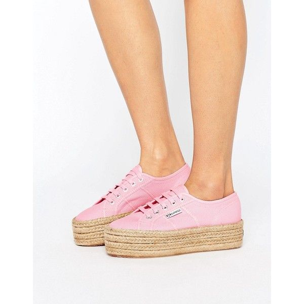 Superga 2790 Espadrille Flatform Trainers In Pink (120 CAD) ❤ liked on Polyvore featuring shoes, sneakers, pink, chunky shoes, pink espadrilles, lace up flatforms, pink shoes and lace up espadrilles