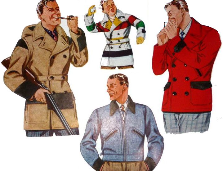 A variety of colors and styles. Late 1930s. Hudson's Bay Company ad. These coats were made in outdoors/work Mackinaw and Cossack styles. They were generally advertised alongside other outdoors-type garments. Sheeplined coats, horsehide jackets, grizzly jackets.