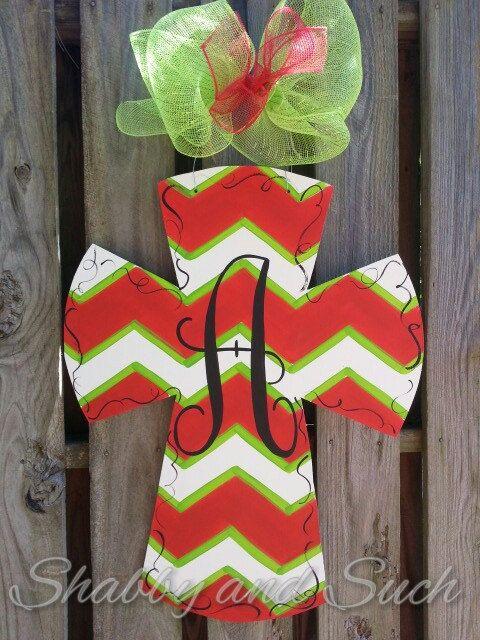 Chevron Cross Christmas Colors Personalized Door Hanger