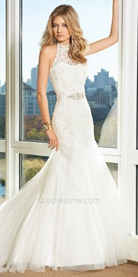 Christian michele from camille la vie lace halter wedding for Christian michele wedding dress