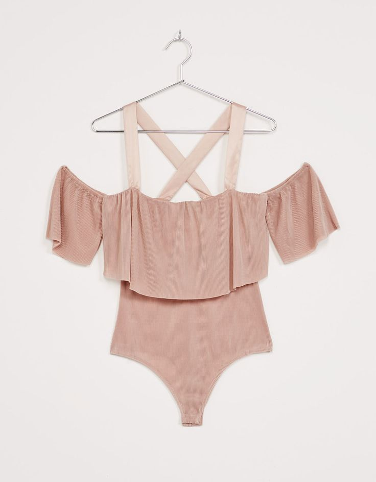 Micro-pleated ruffle bodysuit. Discover this and many more items in Bershka with new products every week
